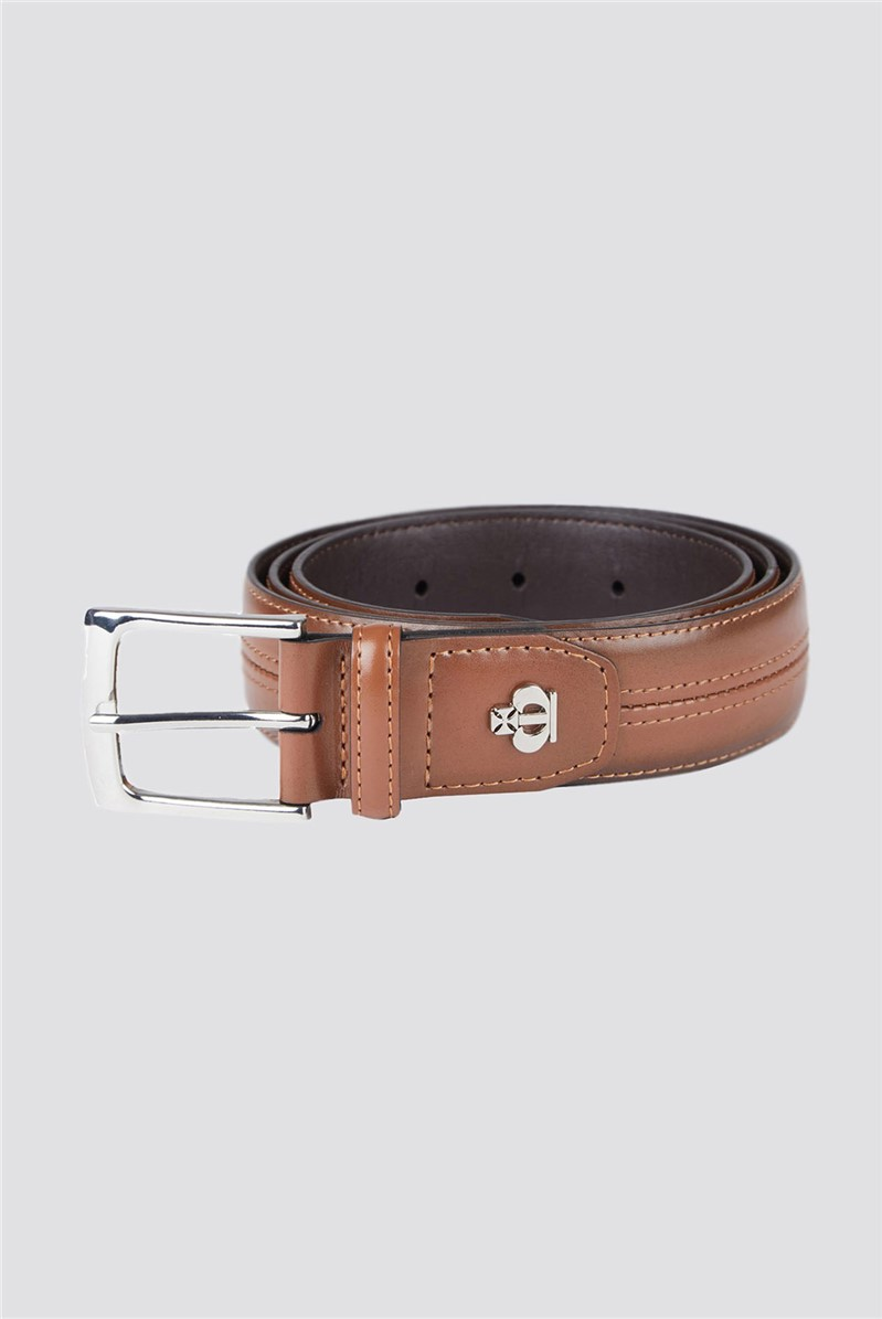 Tan Central Stitch Smart Belt