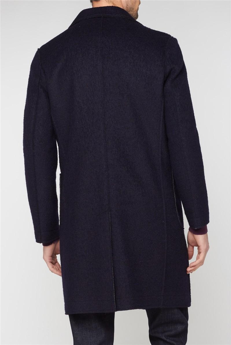 Navy Raw Single Breasted Overcoat