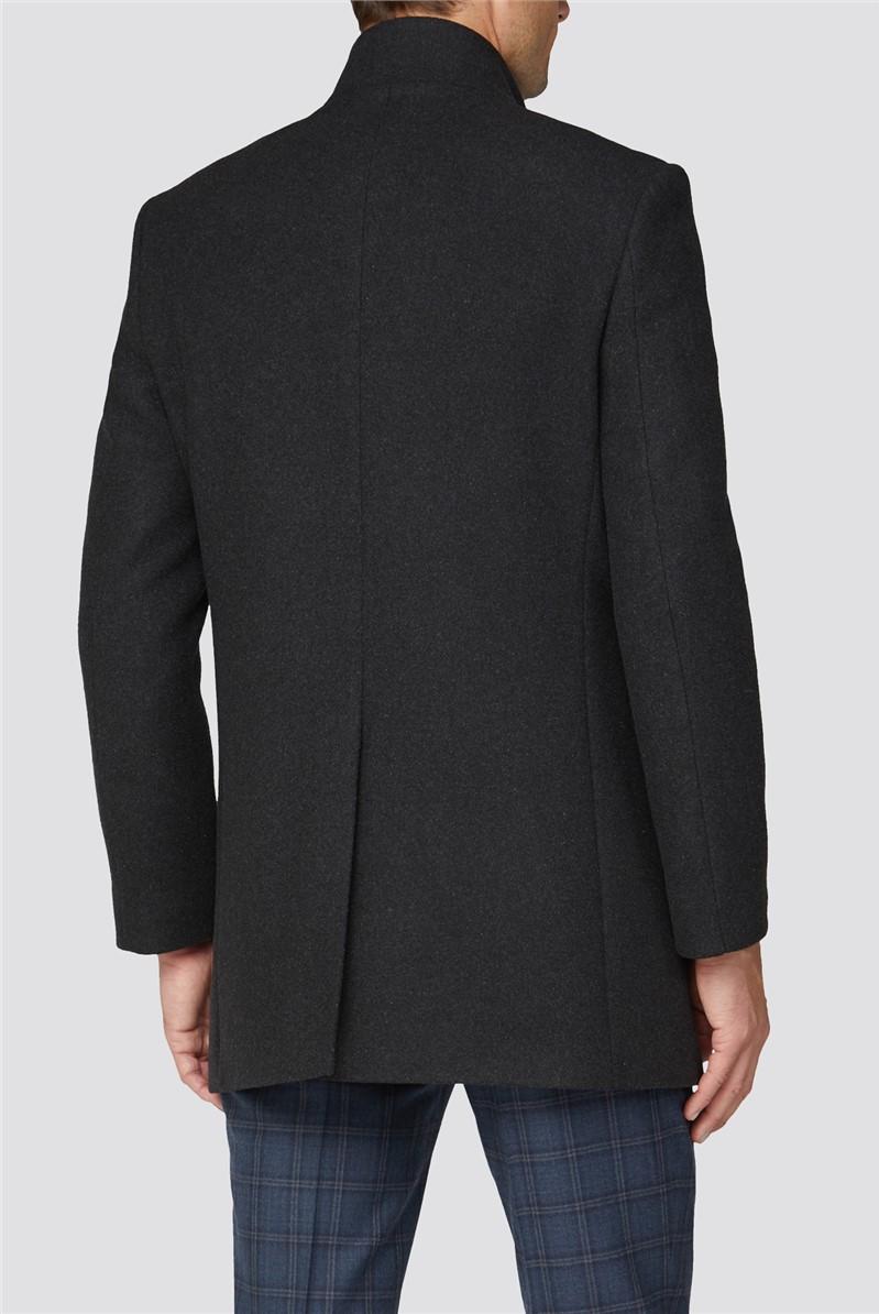 Dark Grey Funnel Neck Coat