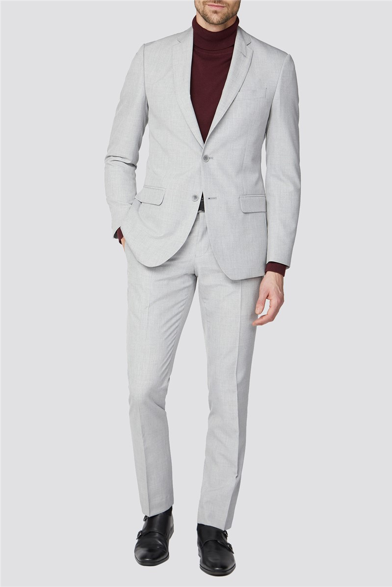 Cool Grey Plain Two Piece Tailored  Fit Suit