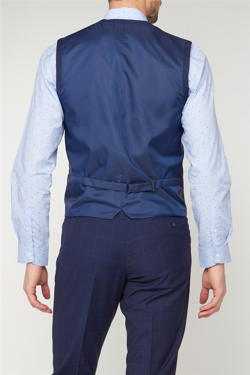 Studio Blue Check Performance Tailored Fit Waistcoat