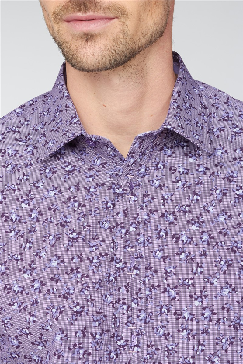 Stvdio Purple Floral Checked Shirt