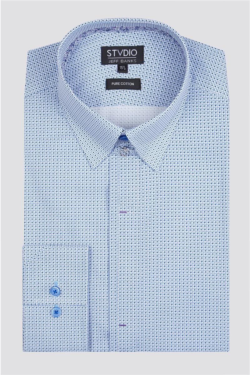 Stvdio Slim Fit Blue Micro Print Shirt