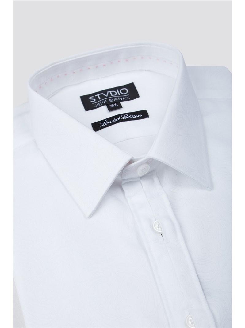 Stvdio Slim Fit White Paisley Jacquard Shirt