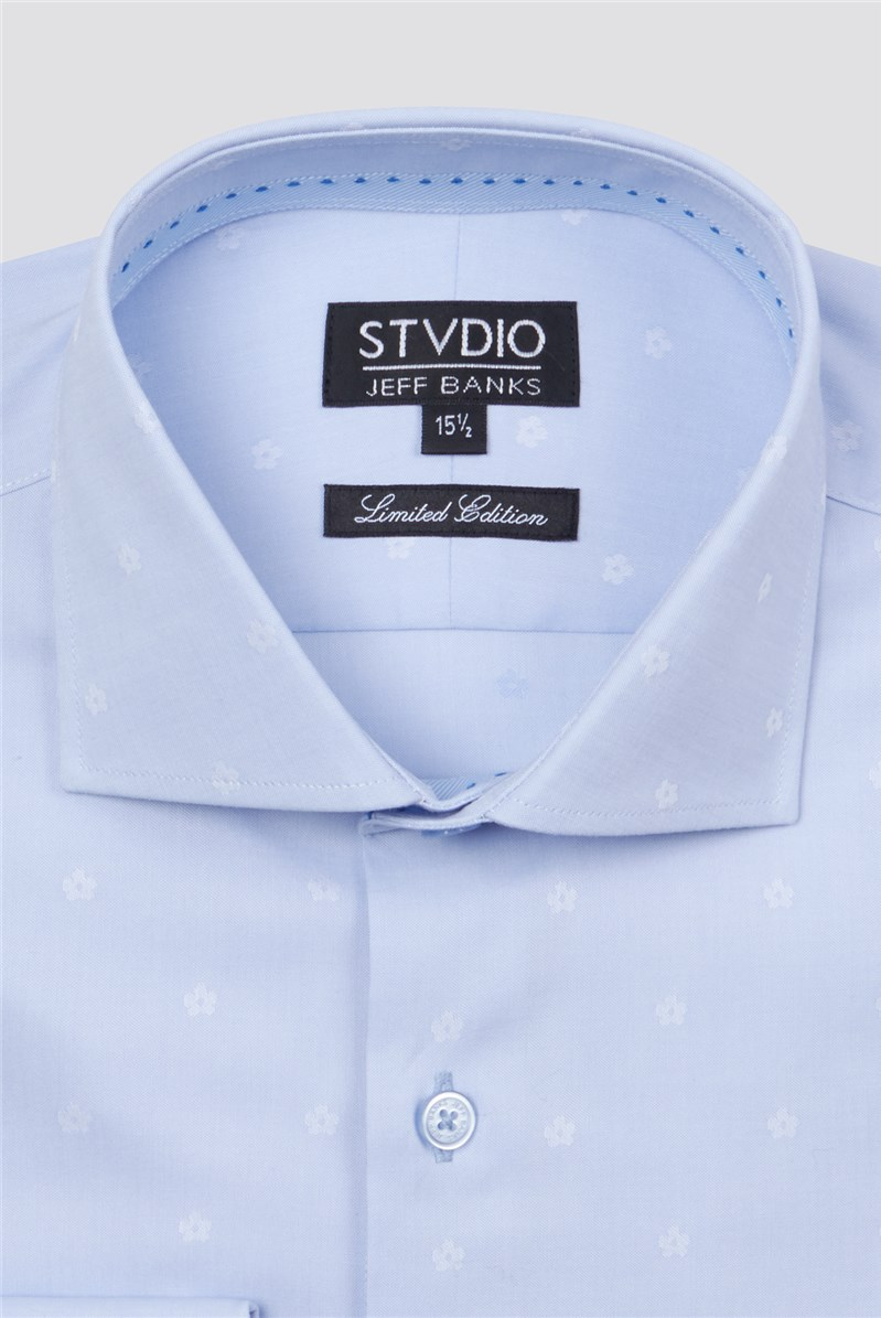 Stvdio Light Blue Small Floral Jacquard Shirt