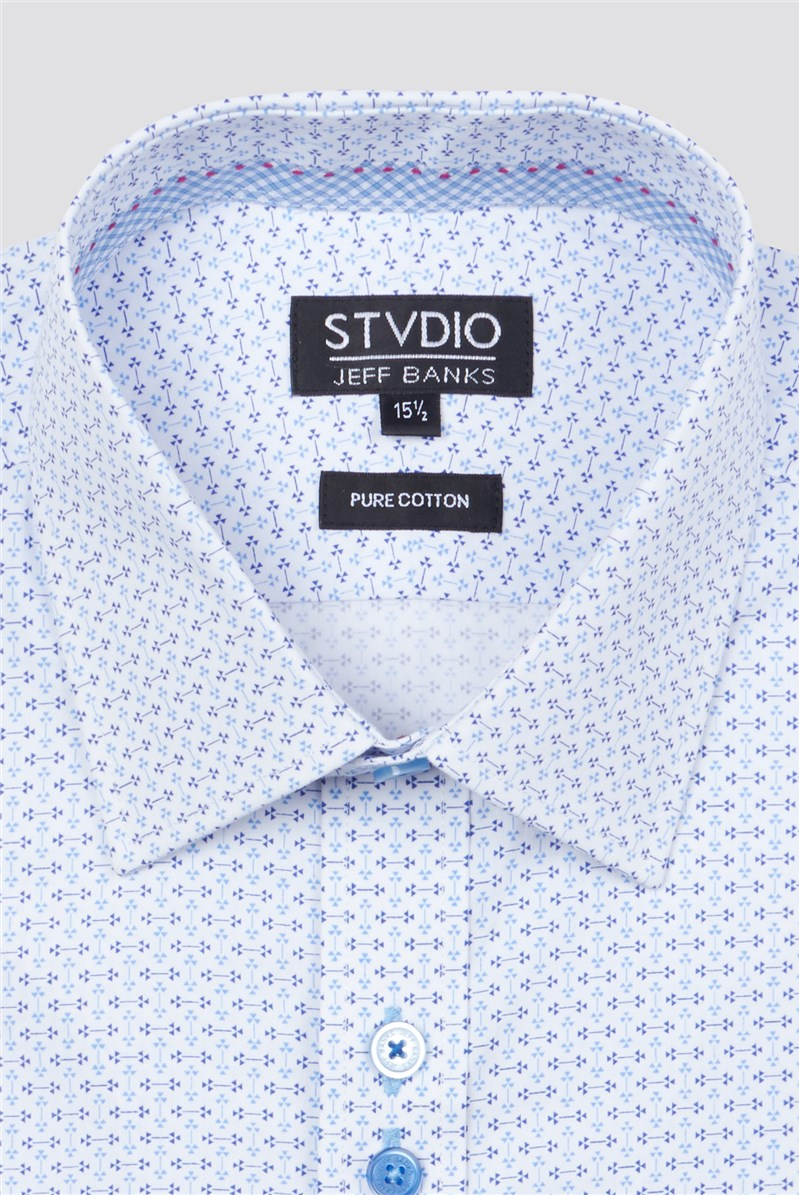 Stvdio Blue Micro Triangle Print Tailored Fit Shirt