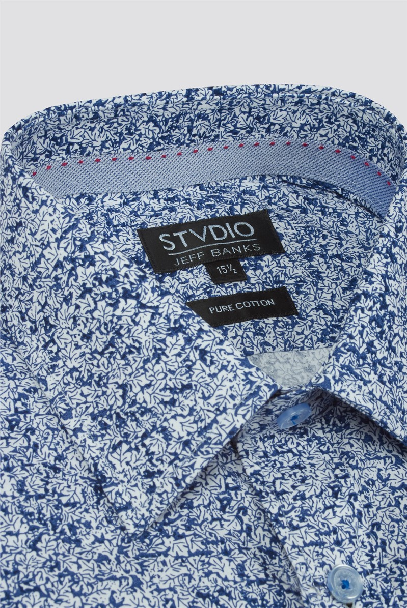 Stvdio Navy Leaves Print Tailored Fit Shirt