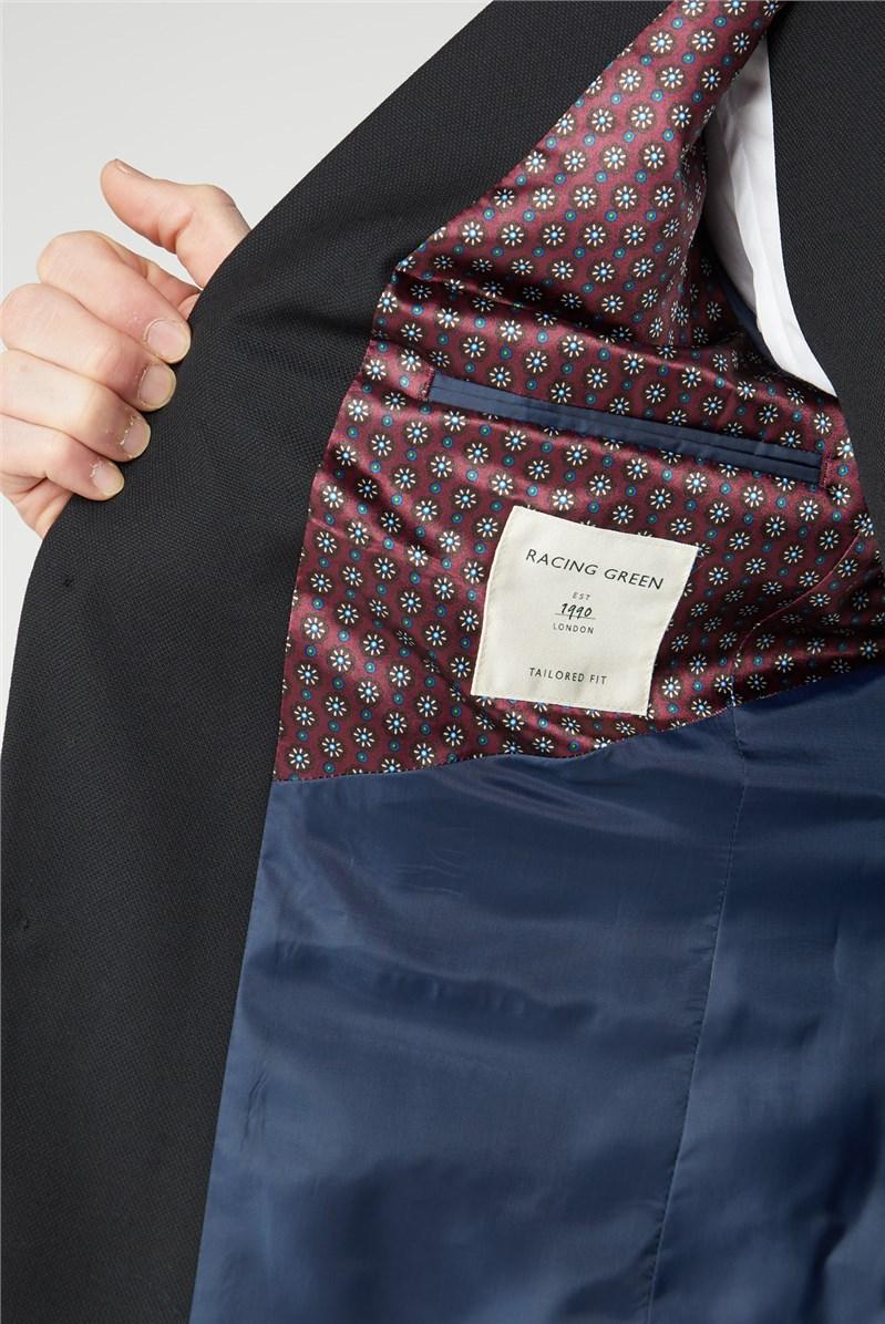 Black Textured Regular Fit Suit Trousers