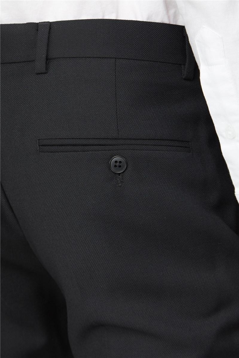 Black Textured Slim Fit Suit