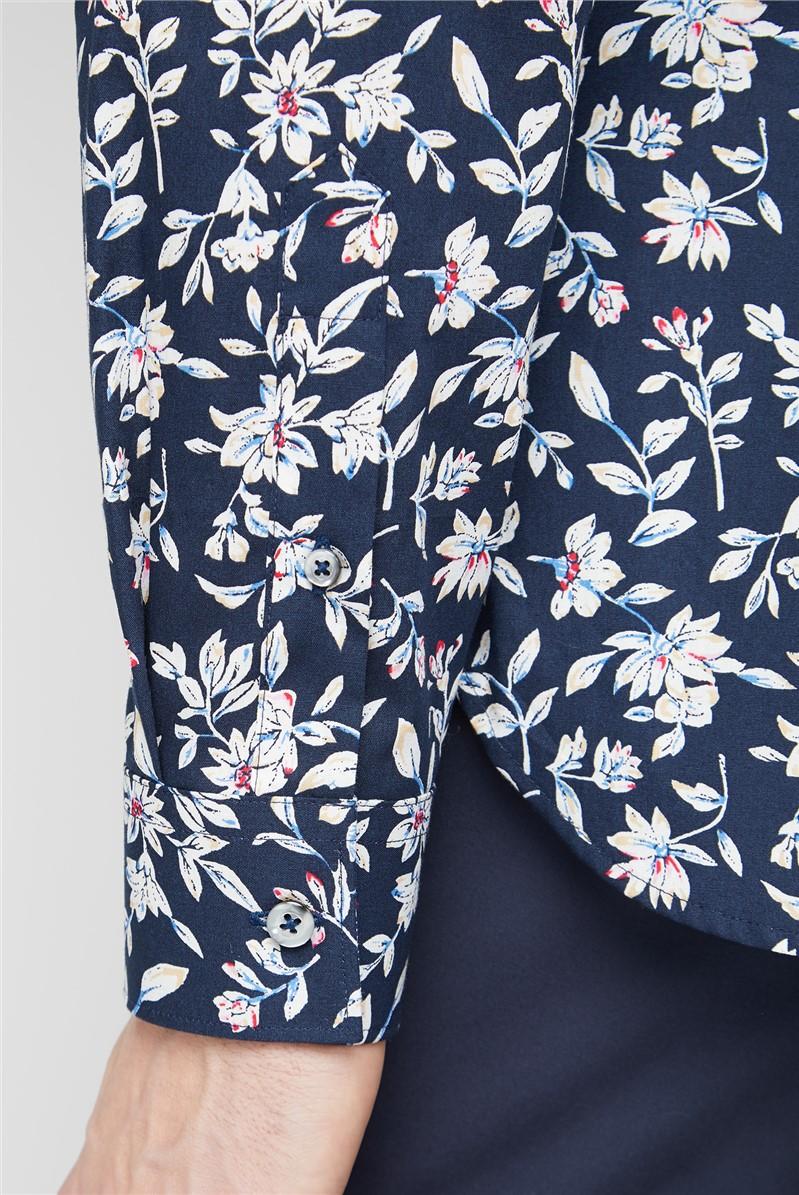 Casual Navy Sketch Floral Print Shirt