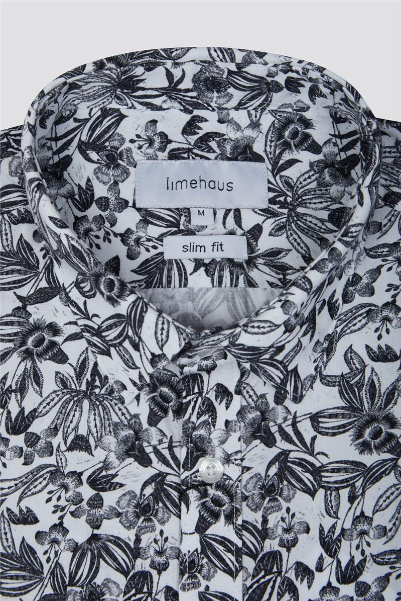 White Floral Print Shirt