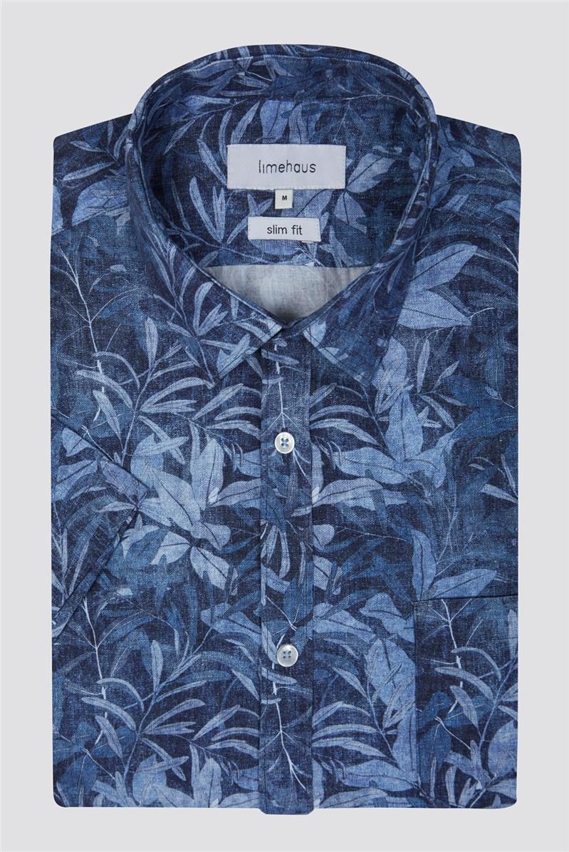 Blue Summer Leaf Print Shirt