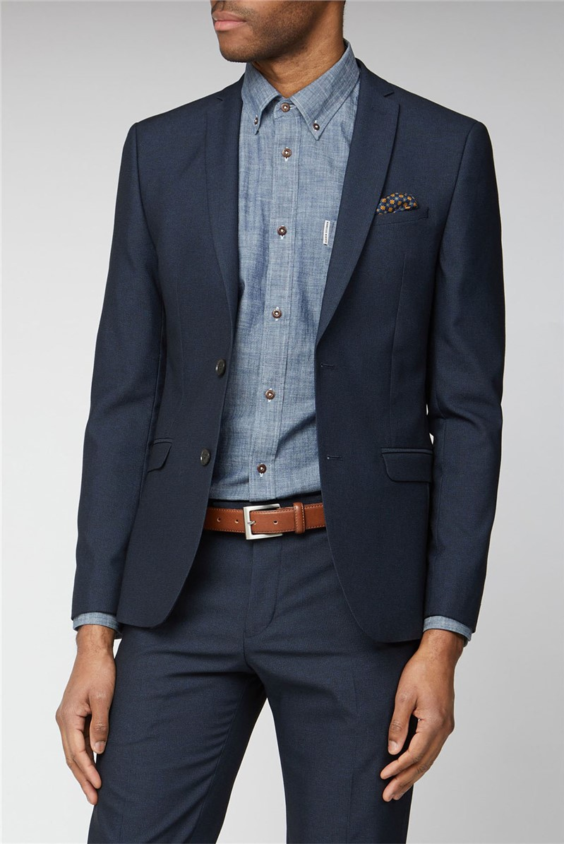 Navy Texture Skinny Fit Suit