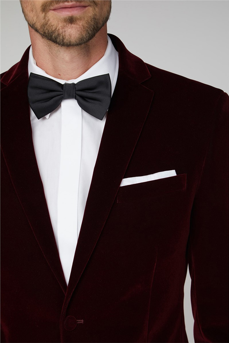 Burgundy Velvet Tailored Fit Jacket