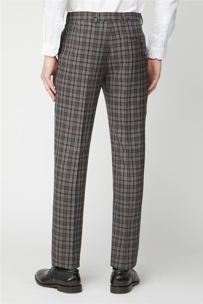 Grey Burgundy Check Slim Fit Suit Trousers