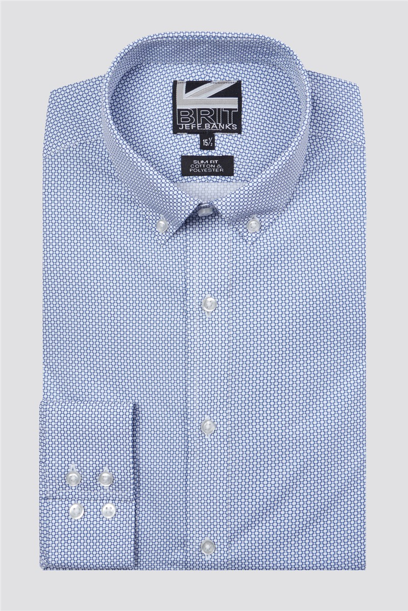 Brit Blue Circle Print Slim Fit Shirt