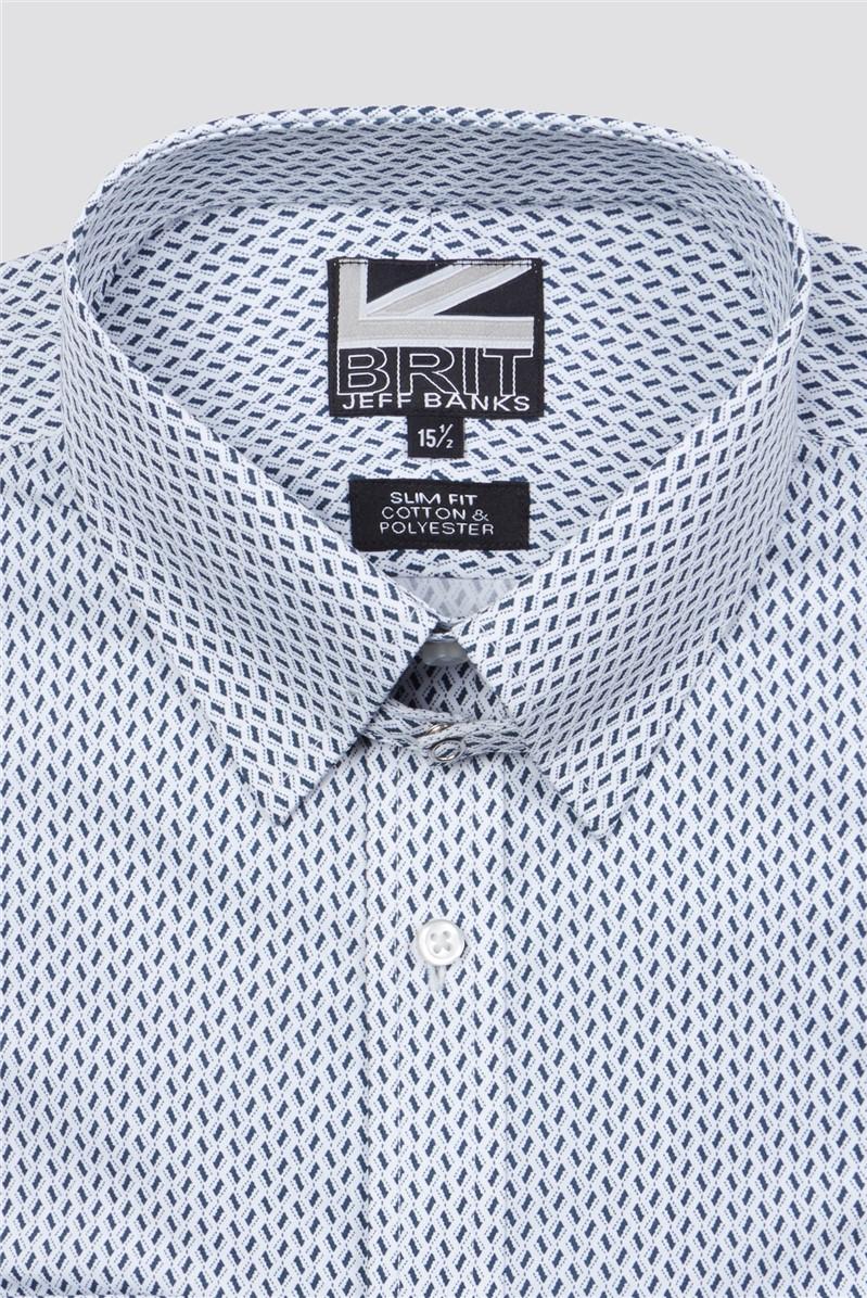 Brit Black Tiles Print Slim Fit Shirt
