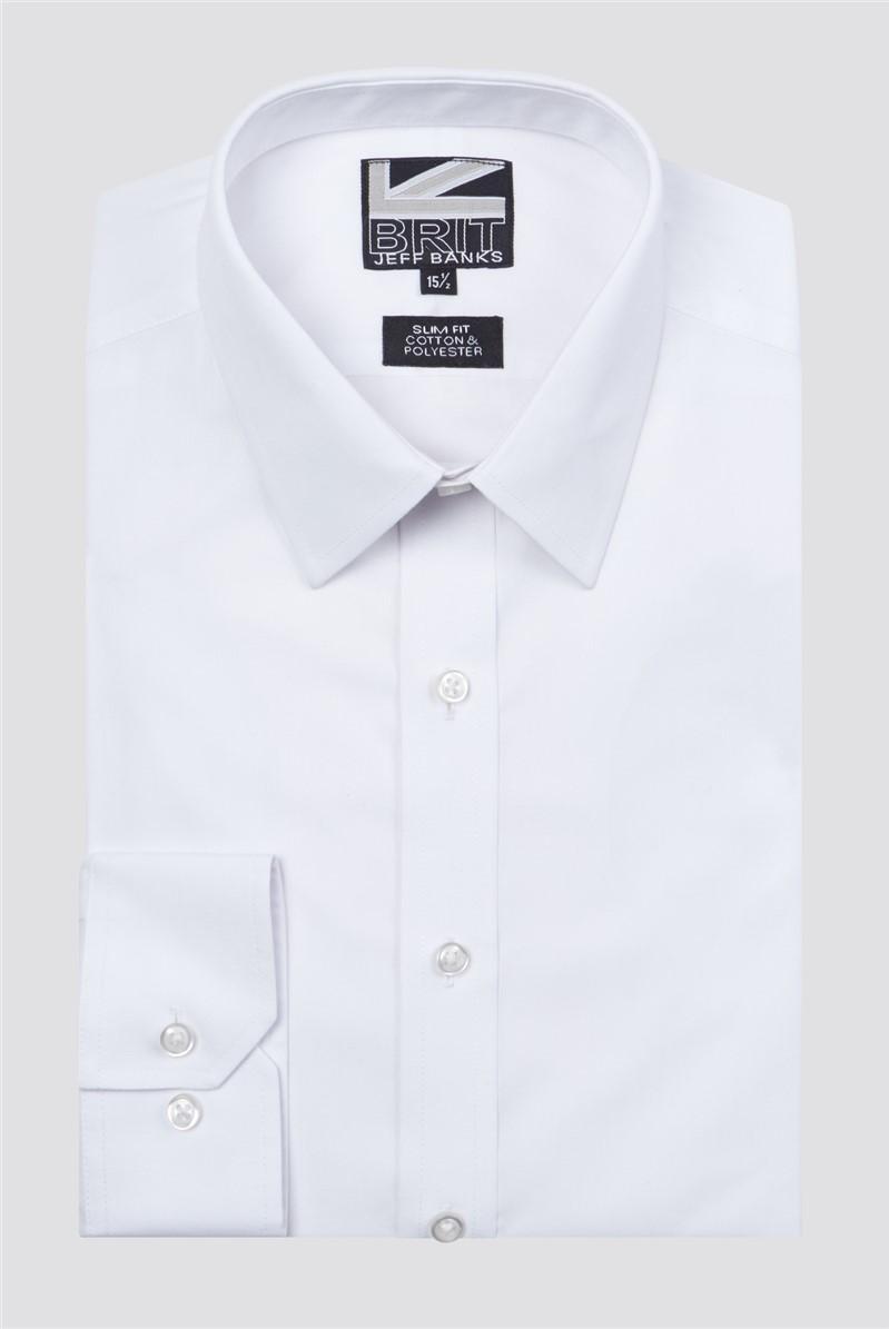 Brit White Poplin Slim Fit Shirt