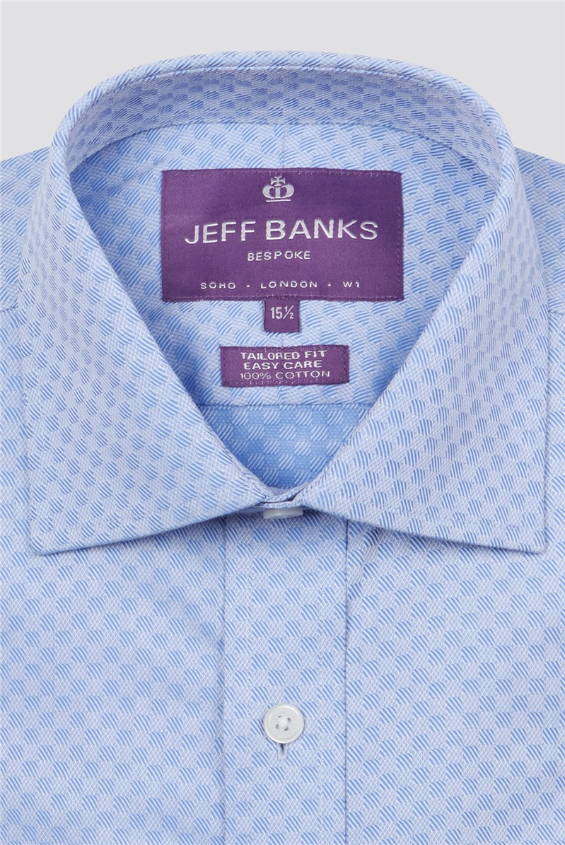 Bespoke Light Blue Square Textured Shirt