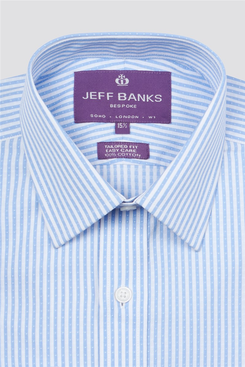 Bespoke Light Blue Dobby Stripe Shirt