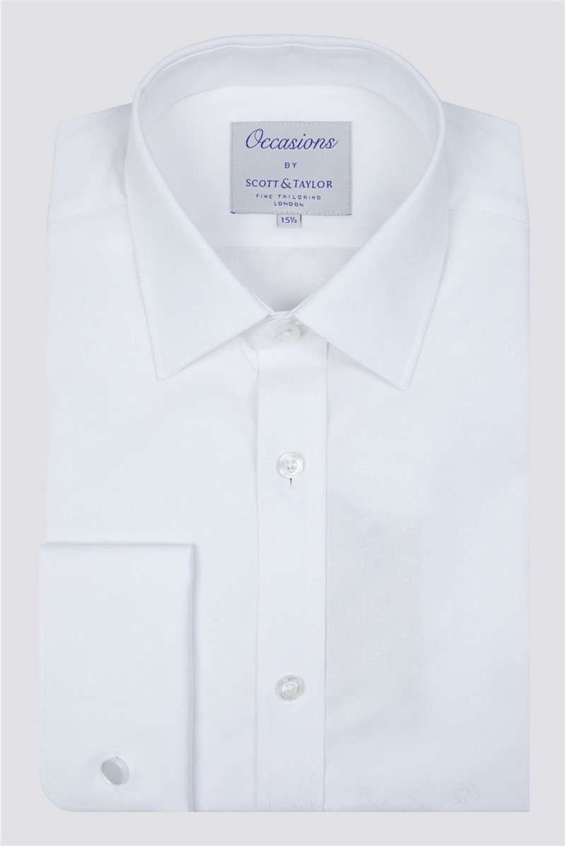 Occasions White Ditsy Floral Jacquard Shirt