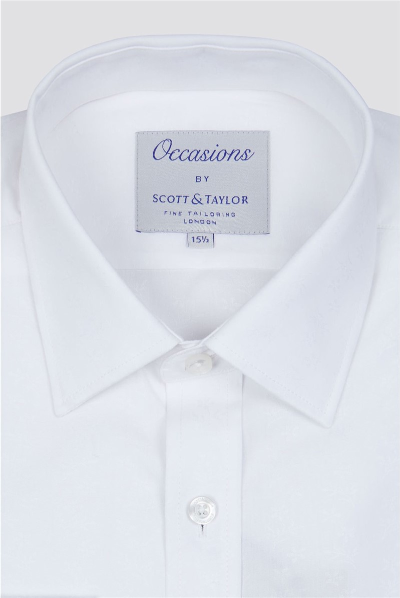White Ditsy Floral Jacquard Shirt