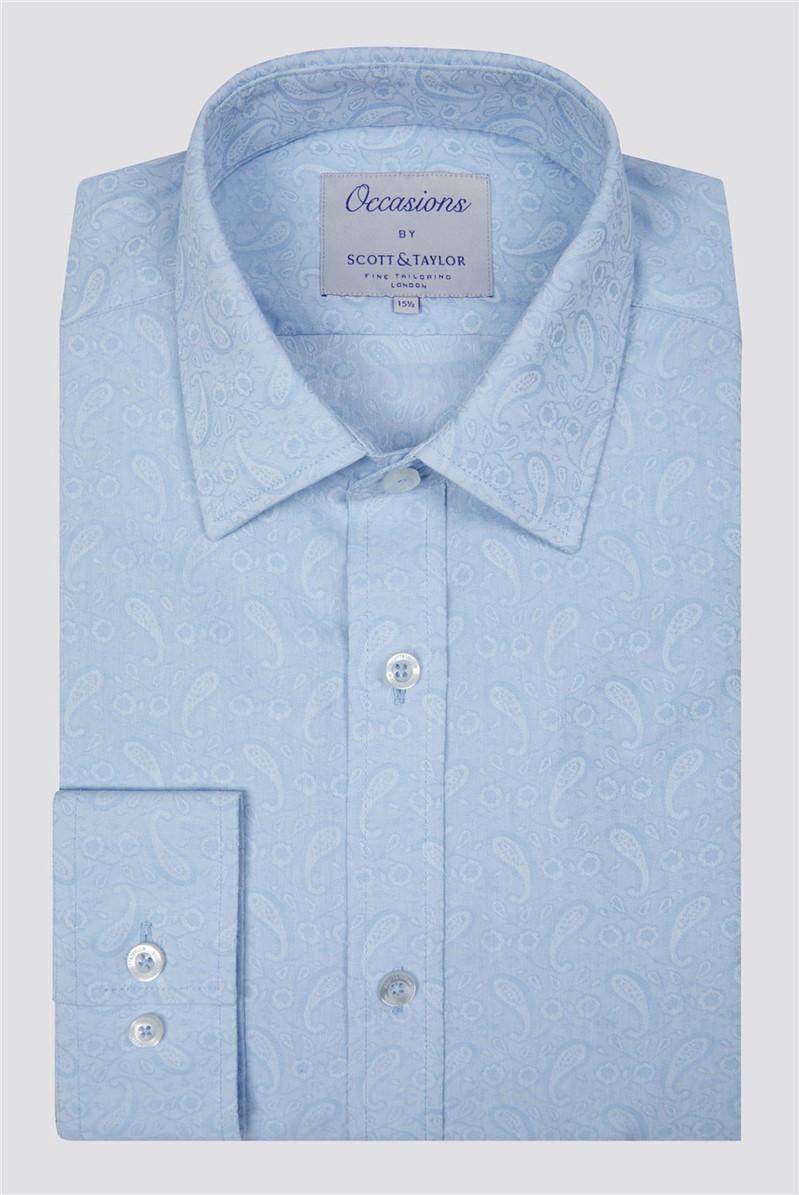 Scott & Taylor Light Blue Paisley Jacquard Shirt