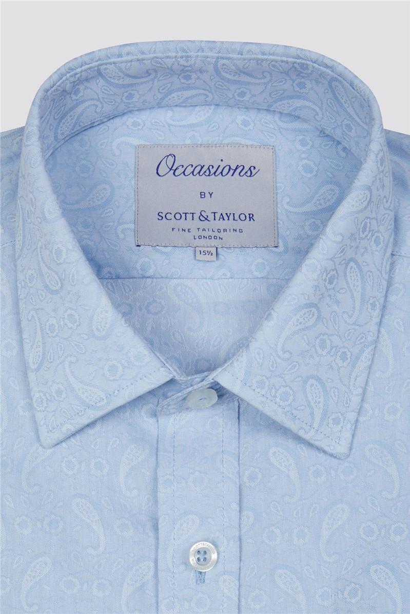 Occasions  Light Blue Paisley Jacquard Shirt