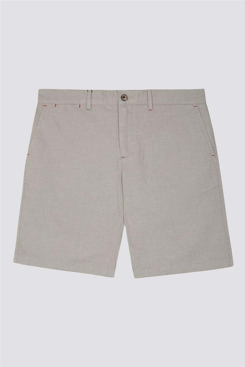 Beige Textured Shorts
