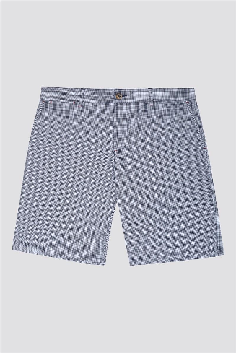 Men's Navy Check Shorts