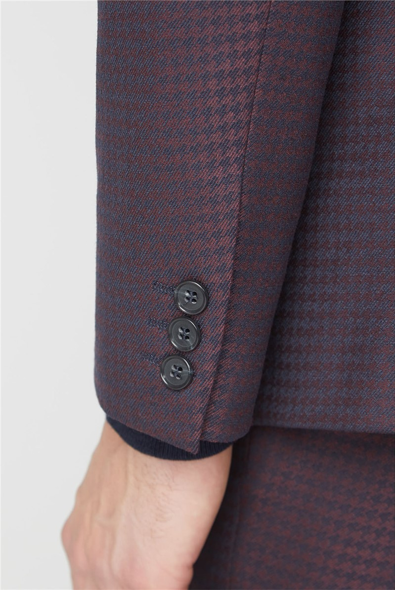 Burgundy Dogtooth Tailored Fit Suit