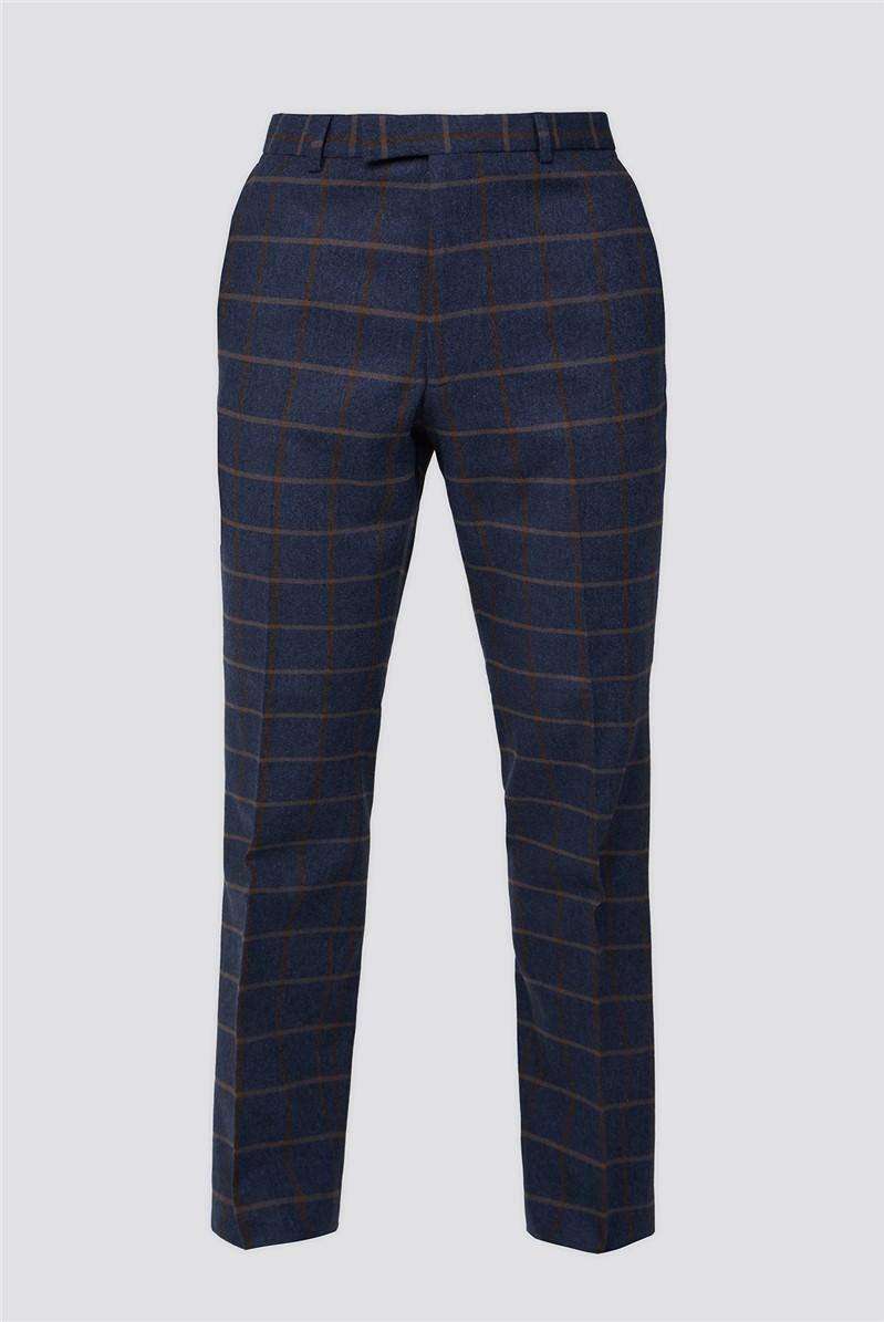 Blue Tan Check Tweed Suit Waistcoat