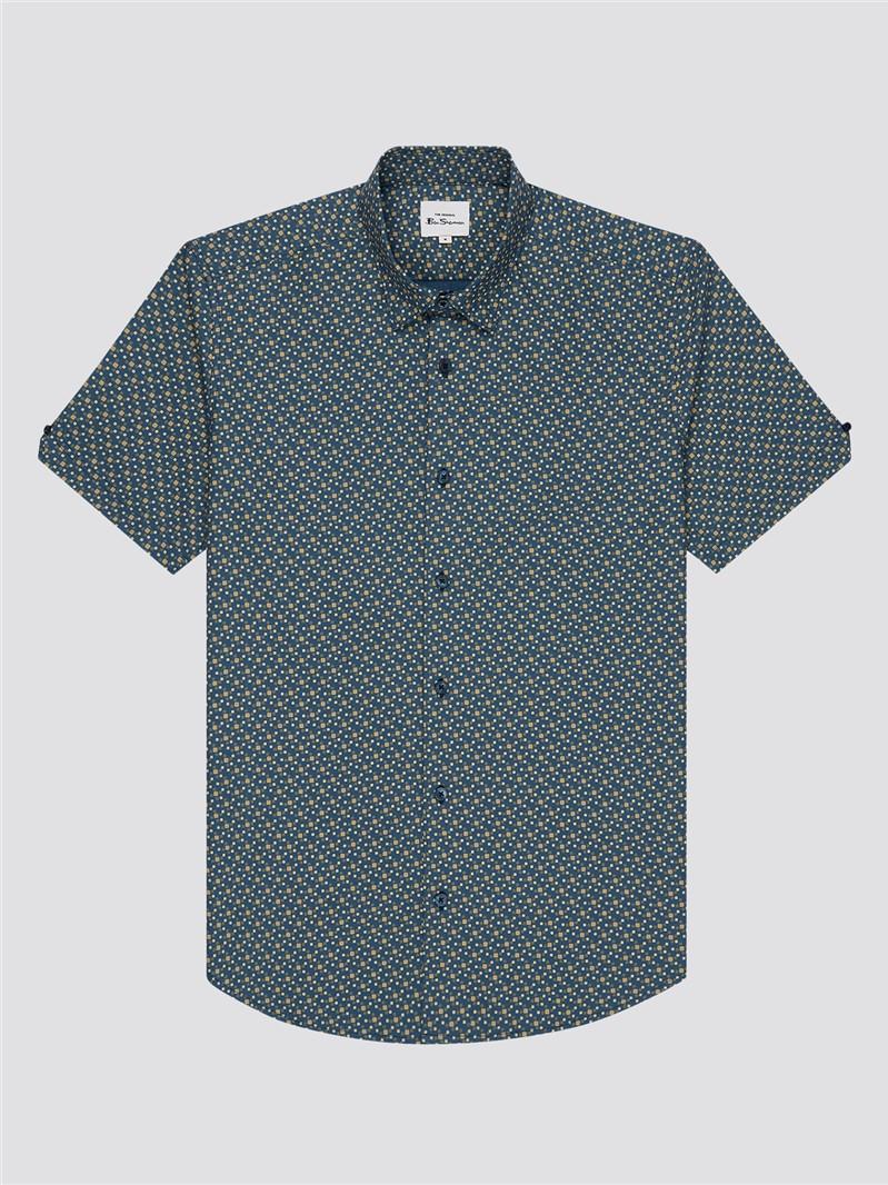 Faded Square Print Shirt