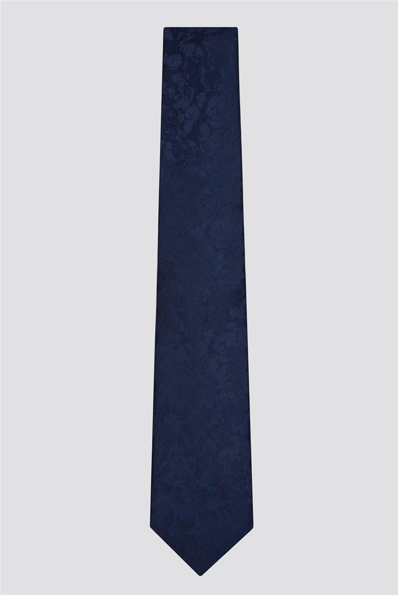 Occasions Navy Tonal Floral Tie & Hank Set
