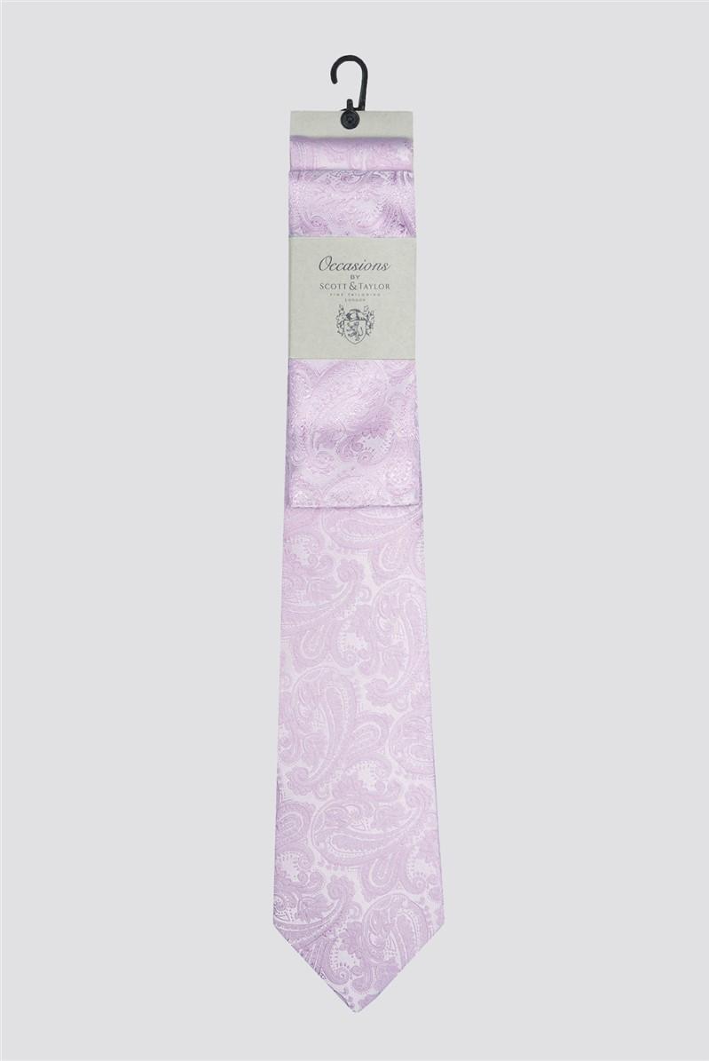 Pink Paisley Tie & Pocket Square Set