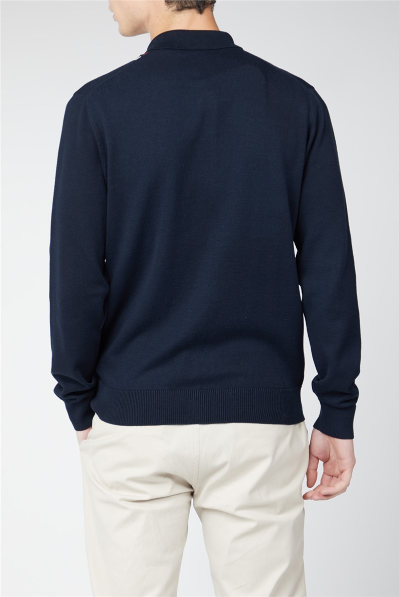 Navy Button Through Stripe Knit Polo