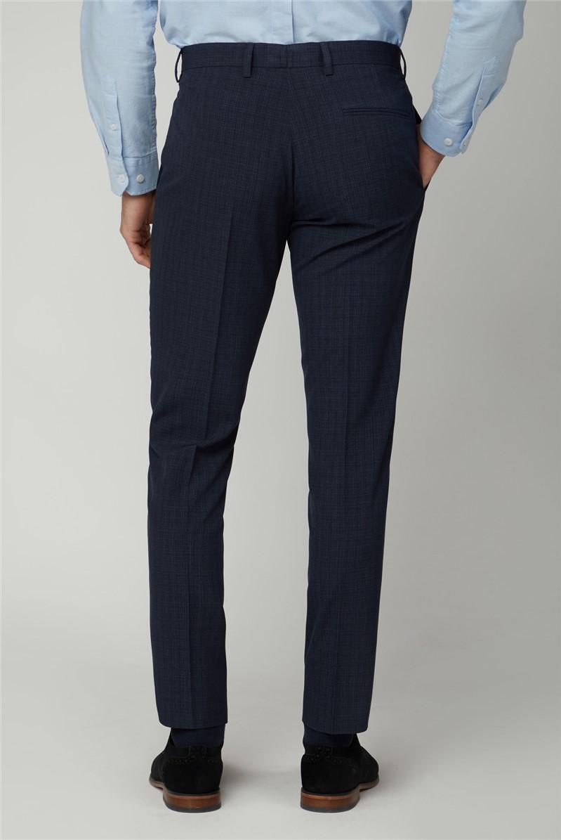 Trousers Navy Semi Plain Slim Trousers