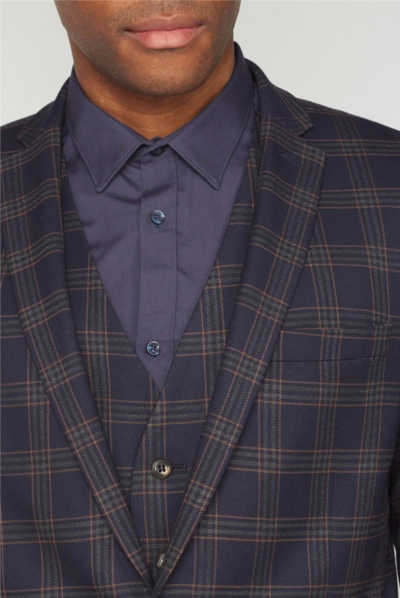 Navy Caramel Check Slim Fit Suit Trouser