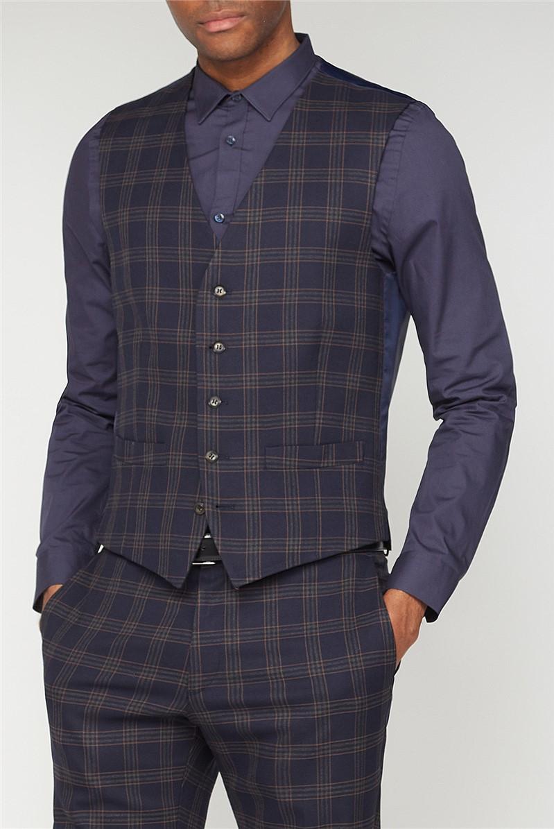 Navy Caramel Check Slim Fit Suit