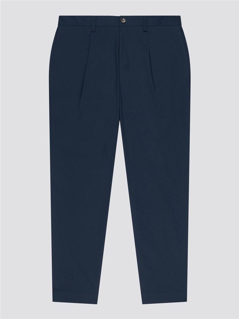 Poplin Relaxed Taper Pleat Trouser