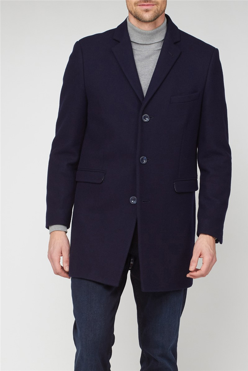 Navy 3 Button Crombie Overcoat