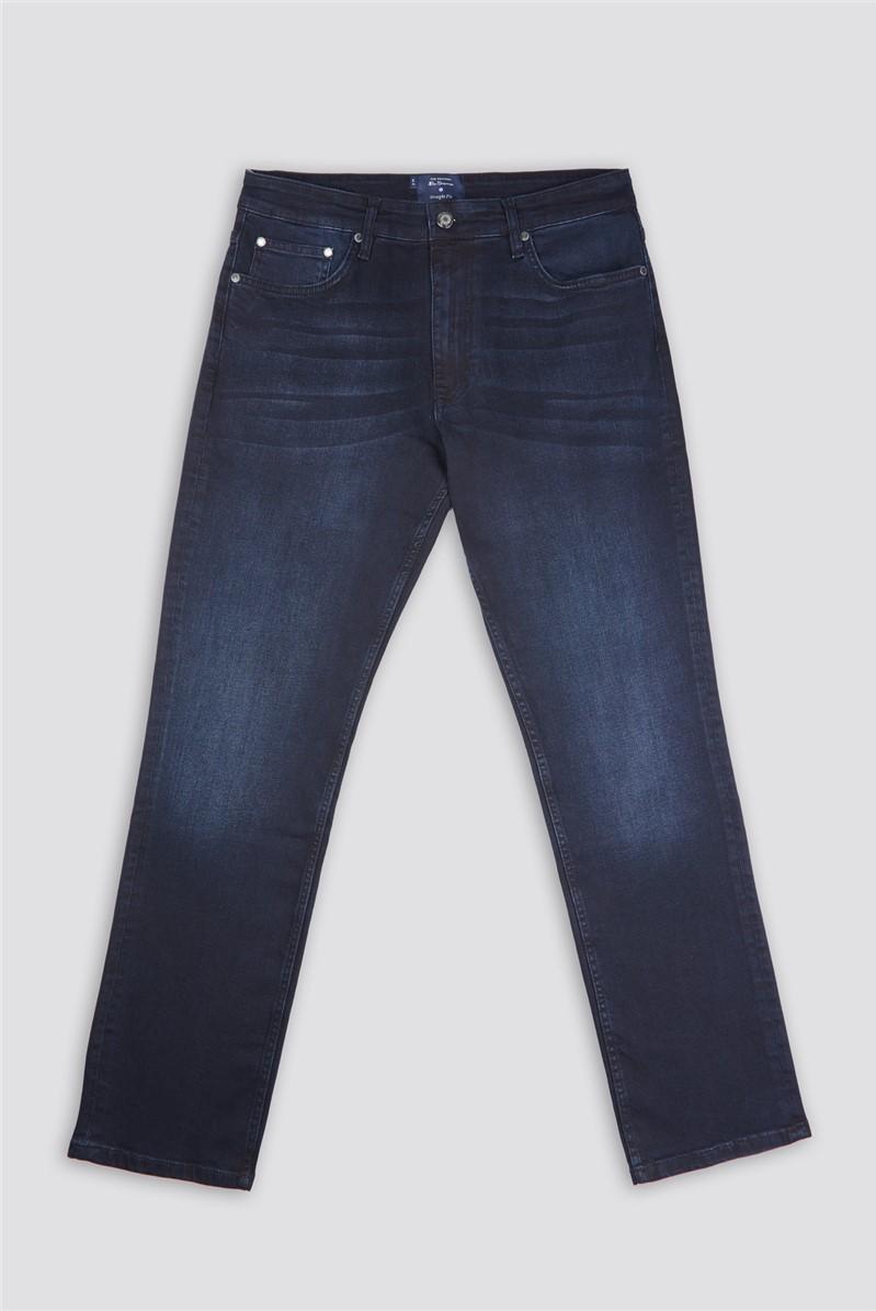 Blue Black Denim Straight Jean