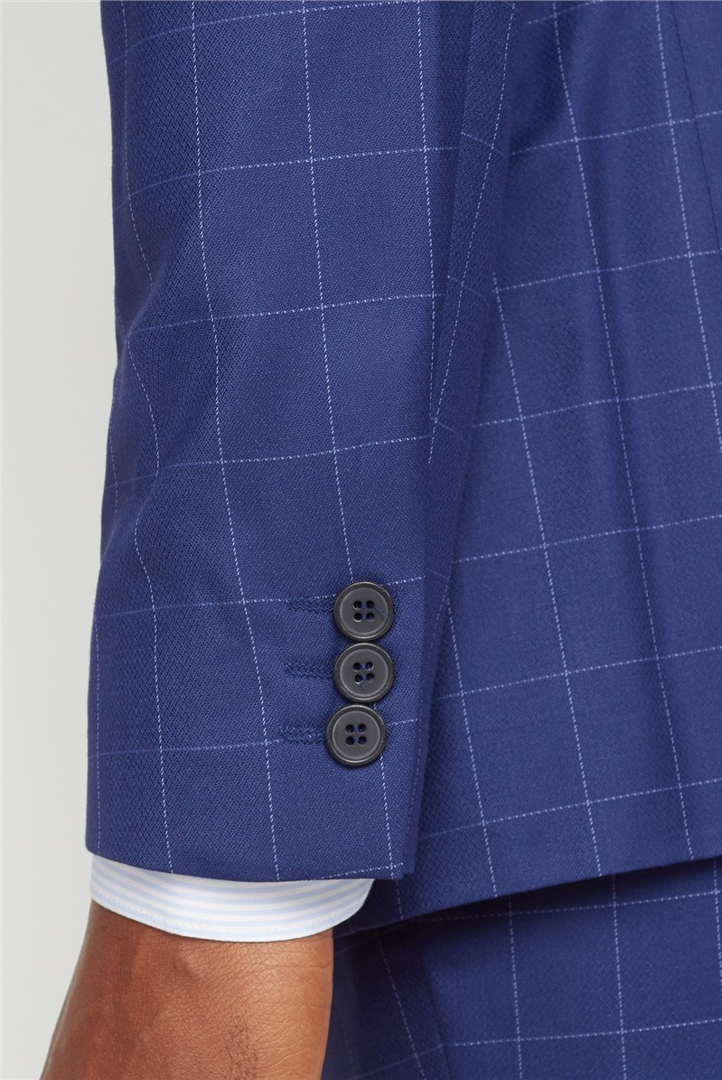 Blue Windowpane Checked Suit