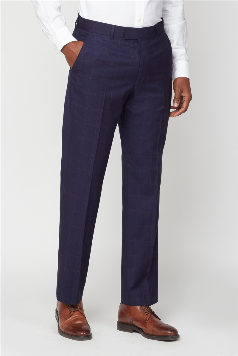 Navy & Rust Windowpane Checked Trousers