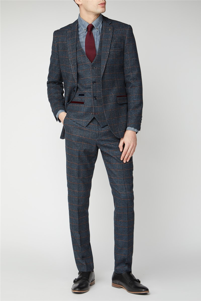 Luca Navy Check Tweed Suit