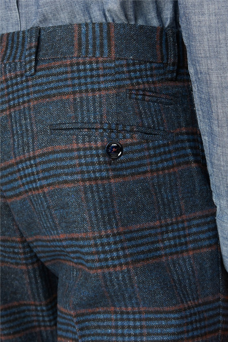 Luca Navy Check Tweed Trousers
