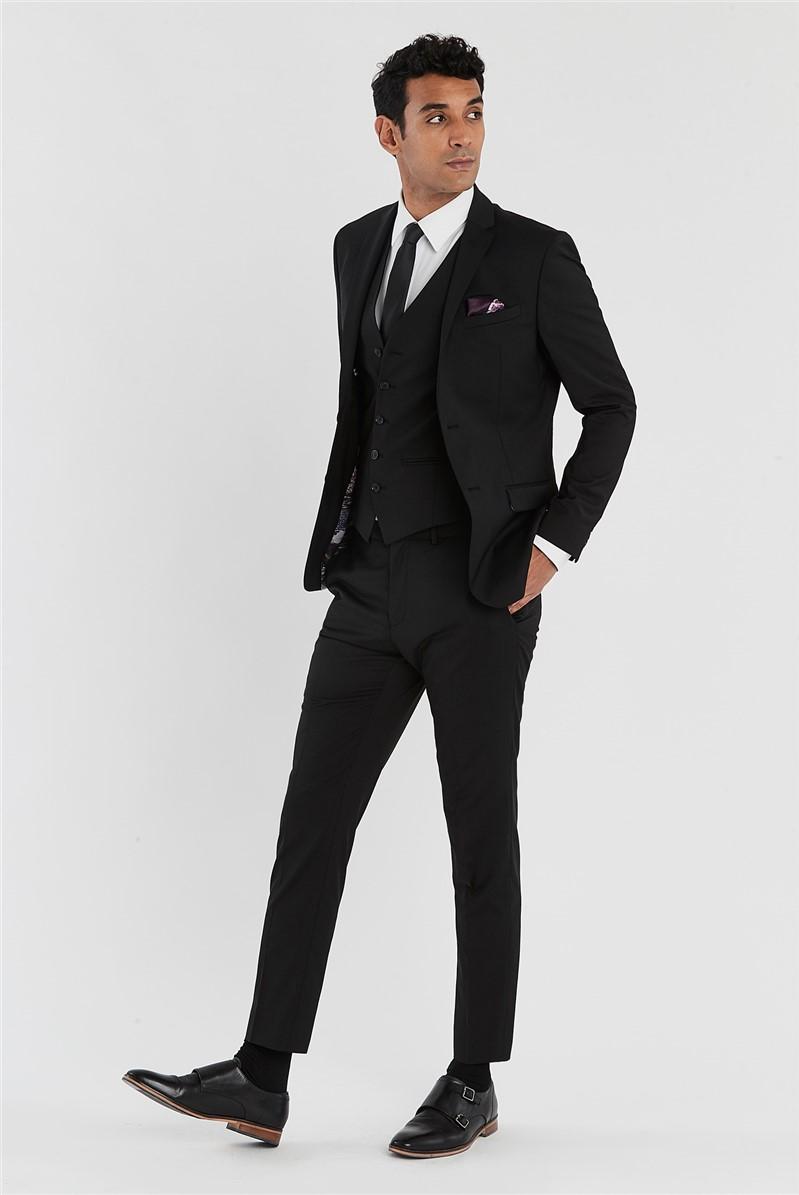 Black Slim Fit Stretch Suit Trousers