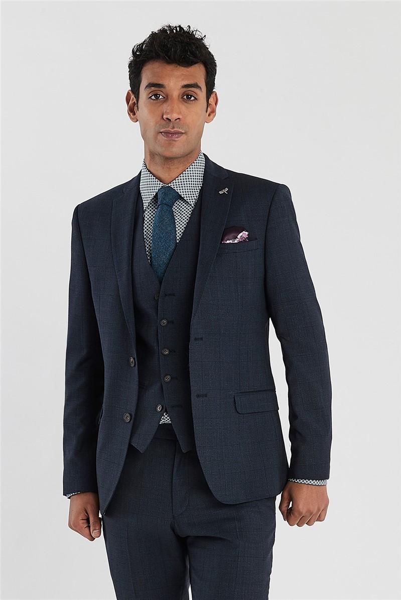 Navy Tonal Check Slim Fit Suit Trousers