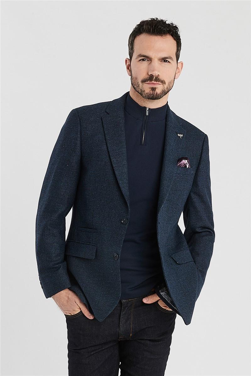 Blue Texture Regular Fit Jacket
