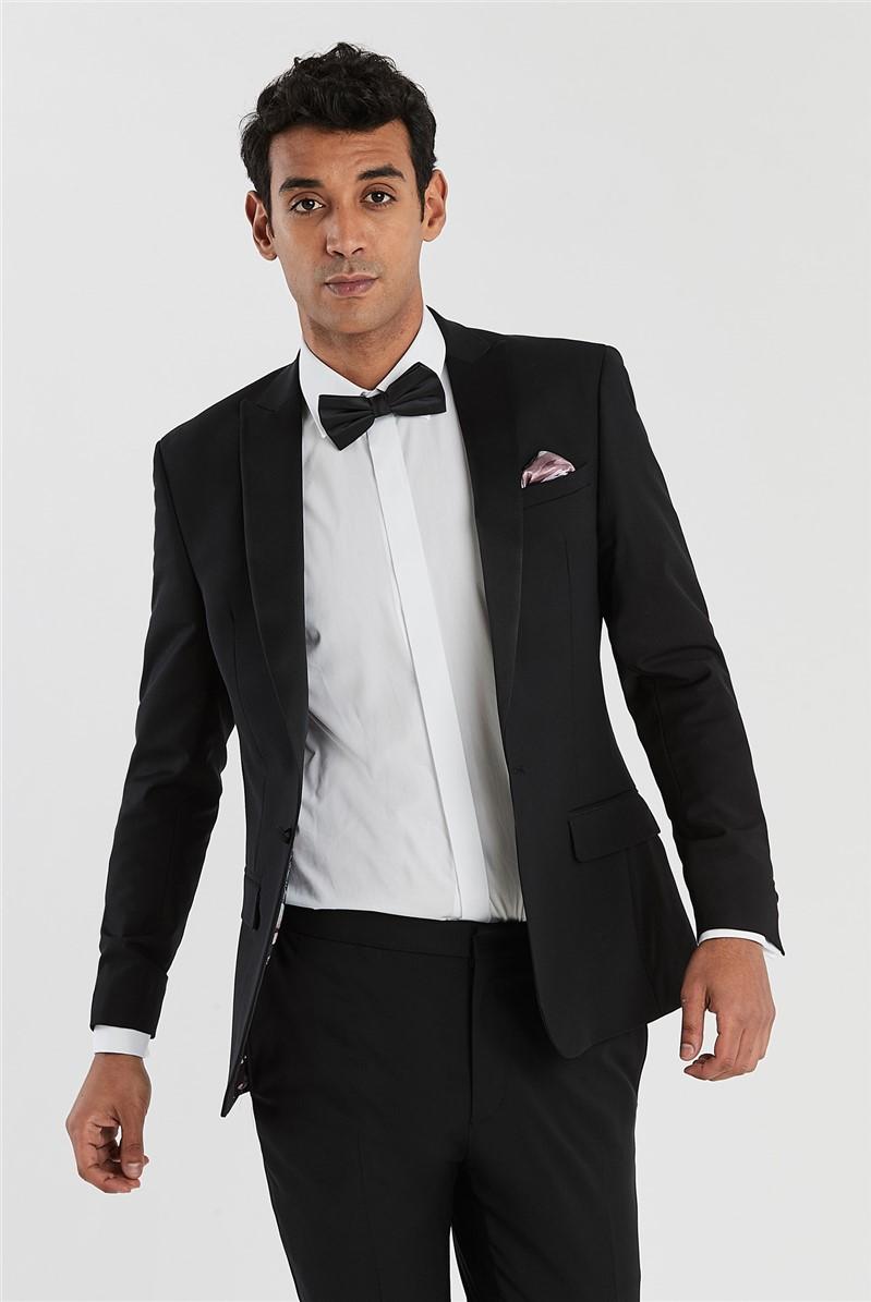 Black Slim Fit Tuxedo Trousers